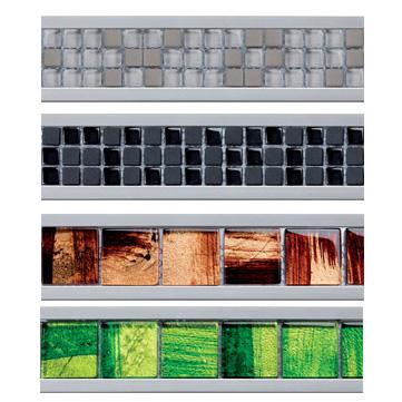 Listel décors intérieur mosaique de verre colorés dans support alu, gamme exclusive - 244A